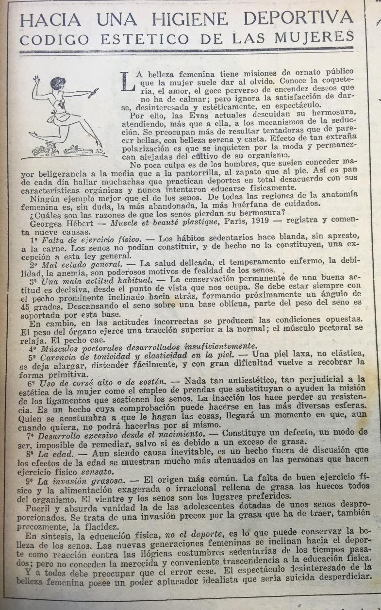 """<em>El Gráfico</em>, 16 de enero de 1926. """"Hacia una higiene deportiva: código estético de las mujeres""""."""