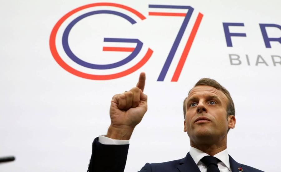 El presidente francés, Emmanuel Macron, hace unas declaraciones en la cumbre del G7 de Biarritz.LUDOVIC MARINAFP