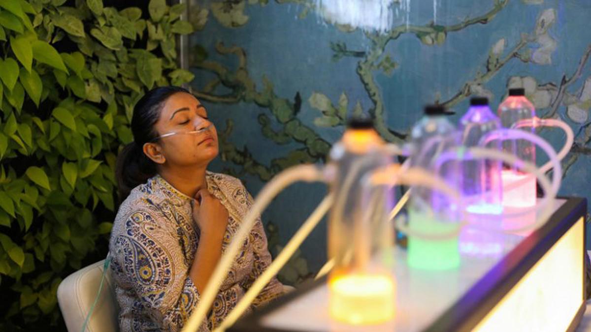 Bares de oxígeno en la India