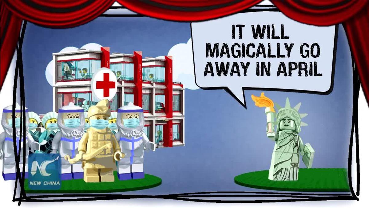 En el video se muestra al guerrero, que representa a China, advirtiéndole a la Estatua, que representa a EE. UU., los riesgos del virus y dándole consejos para que se prepare