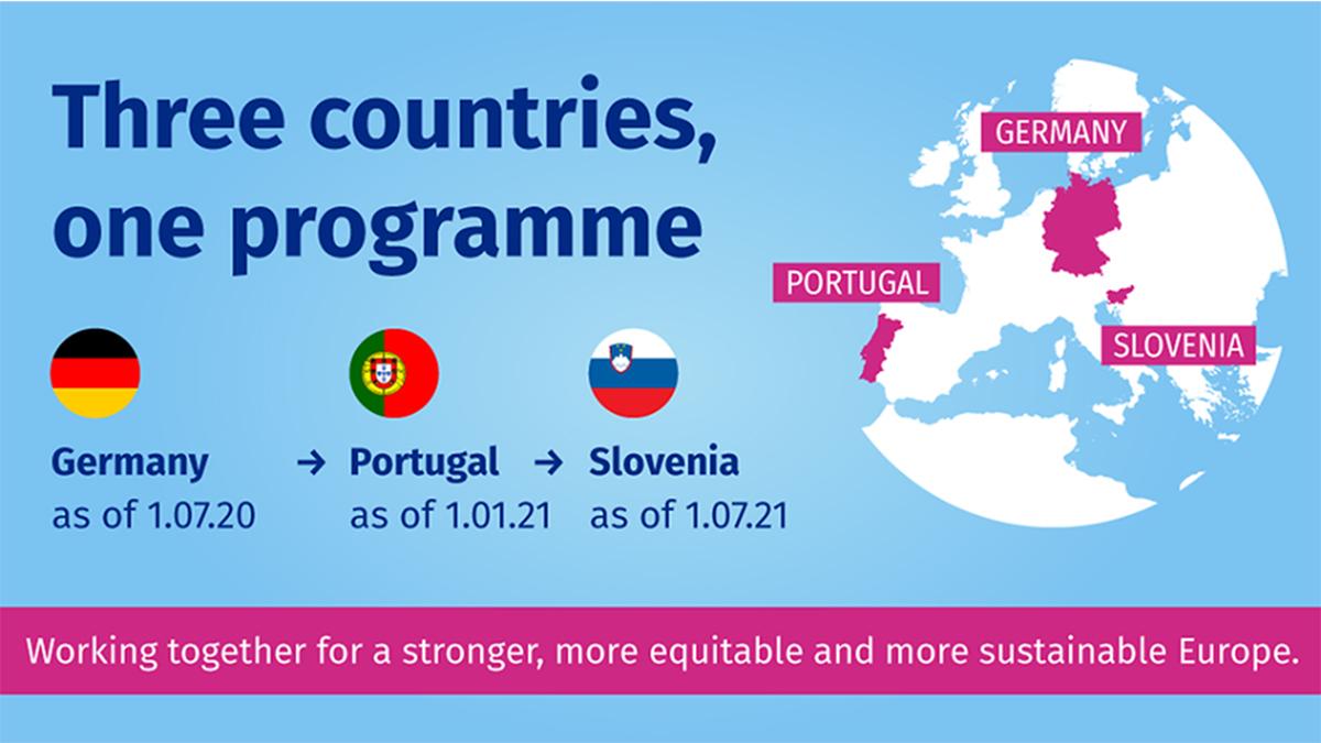 Del 1 de julio de 2020 al 31 de diciembre de 2021 Alemania, Portugal e Eslovenia, asumirán la triple presidencia del Consejo de la Unión Europea.