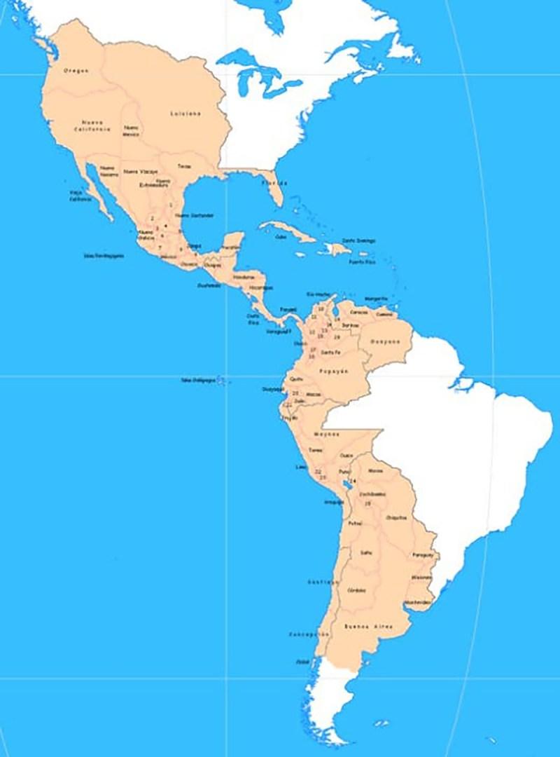 Lugares de la presencia de España en América