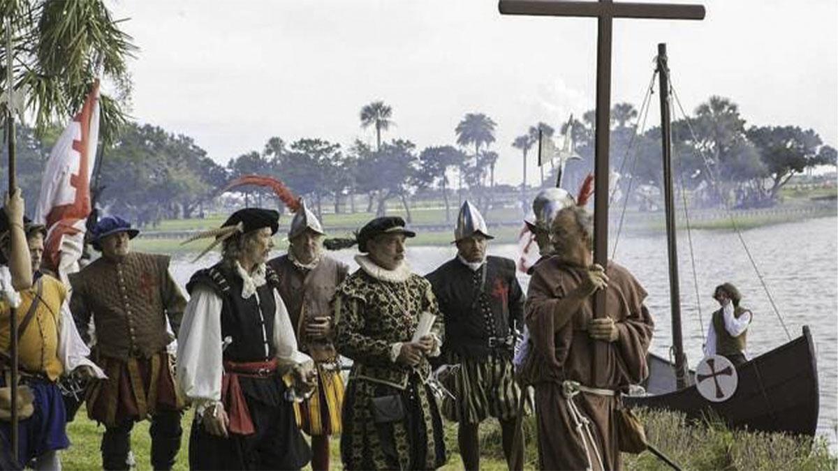 Recreación del descubrimiento de Florida y anexión a España, por Ponce de León en 1513, con motivo de su quinto centenario. Foto: National Geographic.