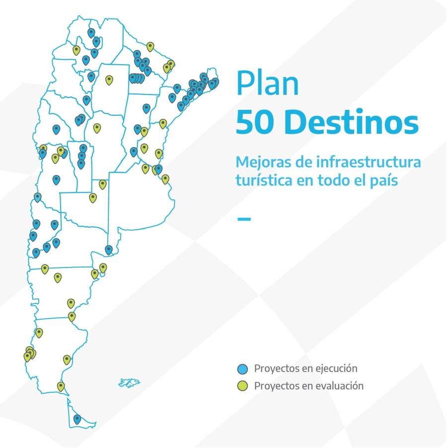 Mapa del Plan 50 Destinos