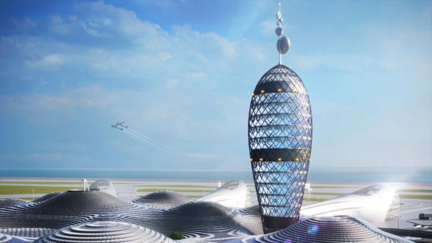 Una inmensa torre serviría para que el aeropuerto pueda ser divisado sin problemas a gran altura por aquellas naves que necesiten aterrizar.