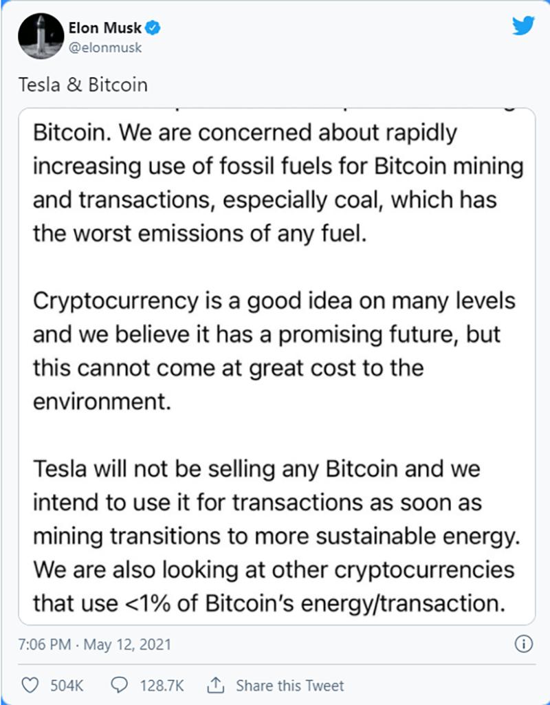 abandono de bitcóin como moneda de pago por parte de Tesla