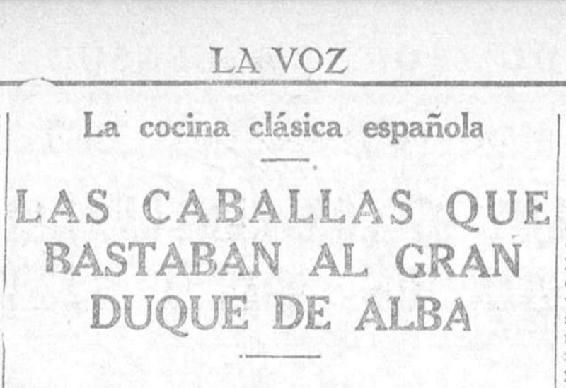 Artículo sobre la caballa en piriñaca de Andalucía publicado en la segunda página de La Voz del 26/08/1927. BNE - Hemeroteca Digital