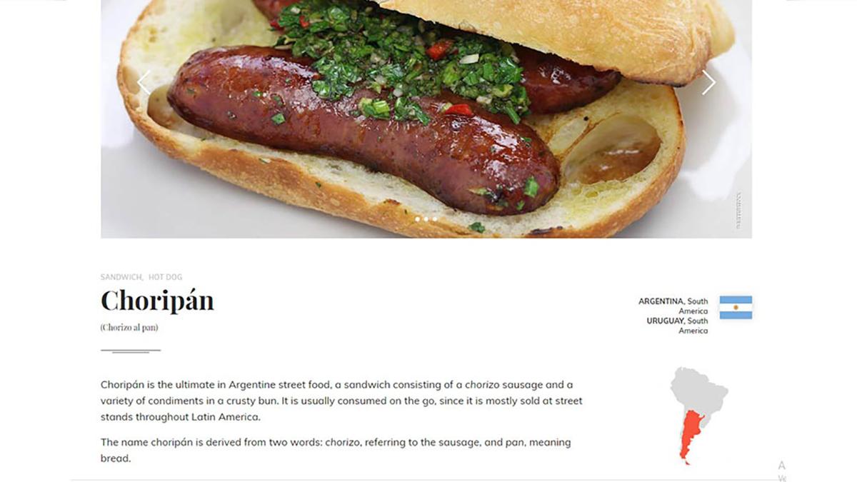 """El """"choripán"""" quedó entre los cinco mejores sándwiches del mundo"""