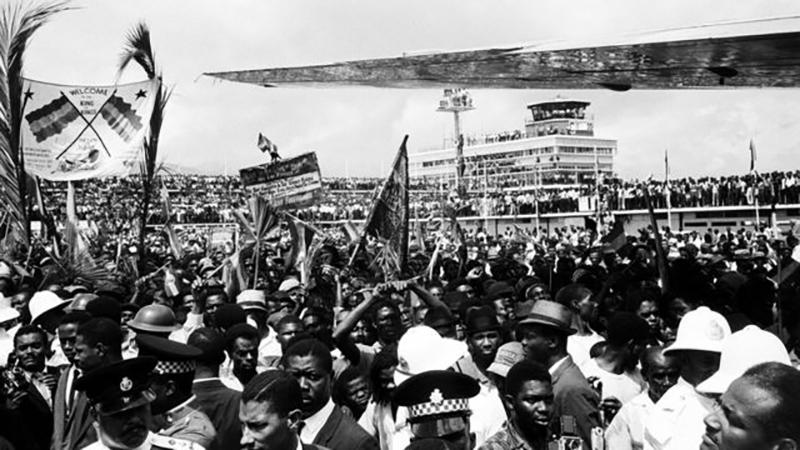 El emperador etíope fue recibido por decenas de miles de rastafaris cuando viajó a Jamaica en 1966.