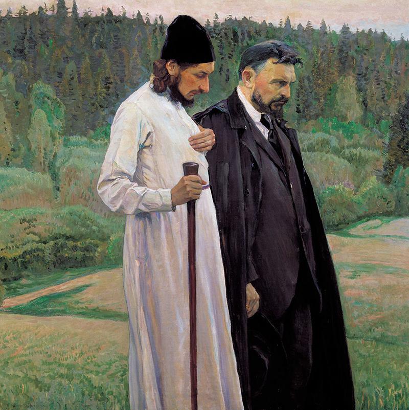 En sueños conversan los Filósofos (1917), en la que se representa a Florenski y Serguéi Bulgákov. Mijaíl Nésterov/Wikimedia Commons
